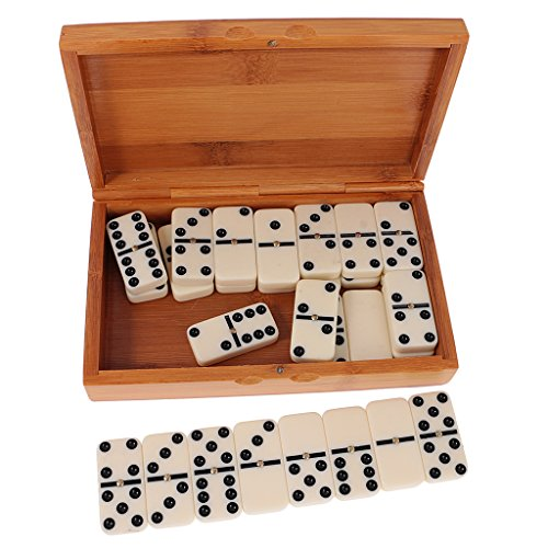 Fityle Double Six Dominoes Set of 28 Traditional Board Travel Game Toy Bamboo Box by Fityle