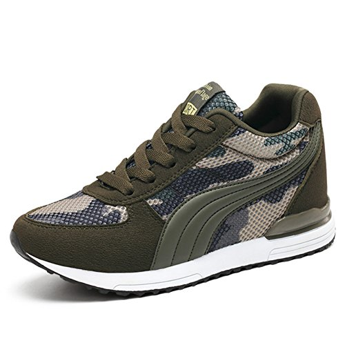 Women's Camouflage Mesh High-Heeled Sneakers Army Green Height Increase Shoes(36)