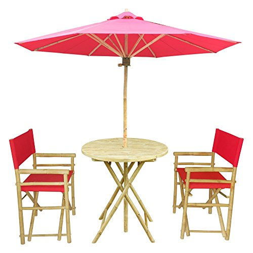 Zew Handmade 4 Piece Bamboo Outdoor Bistro Set, 2 Folding Director Chairs, 1 Round Table and 1 Umbrella, Red