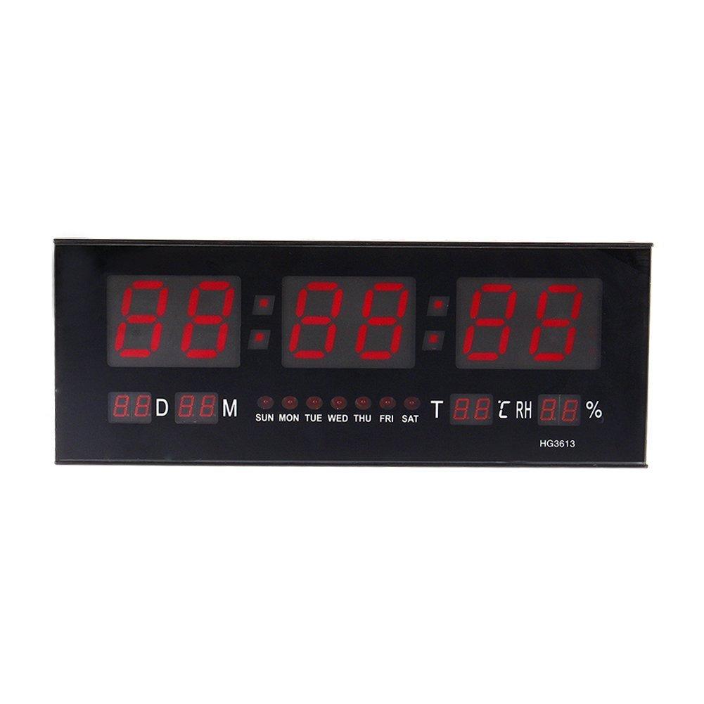 zjchao Reloj de Pared Grande Red LED Digital Alarma del Reloj Temporizador de la batería con la Temperatura del Calendario 36 C: Amazon.es: Hogar