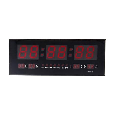 zjchao Reloj de Pared Grande Red LED Digital Alarma del Reloj Temporizador de la batería con