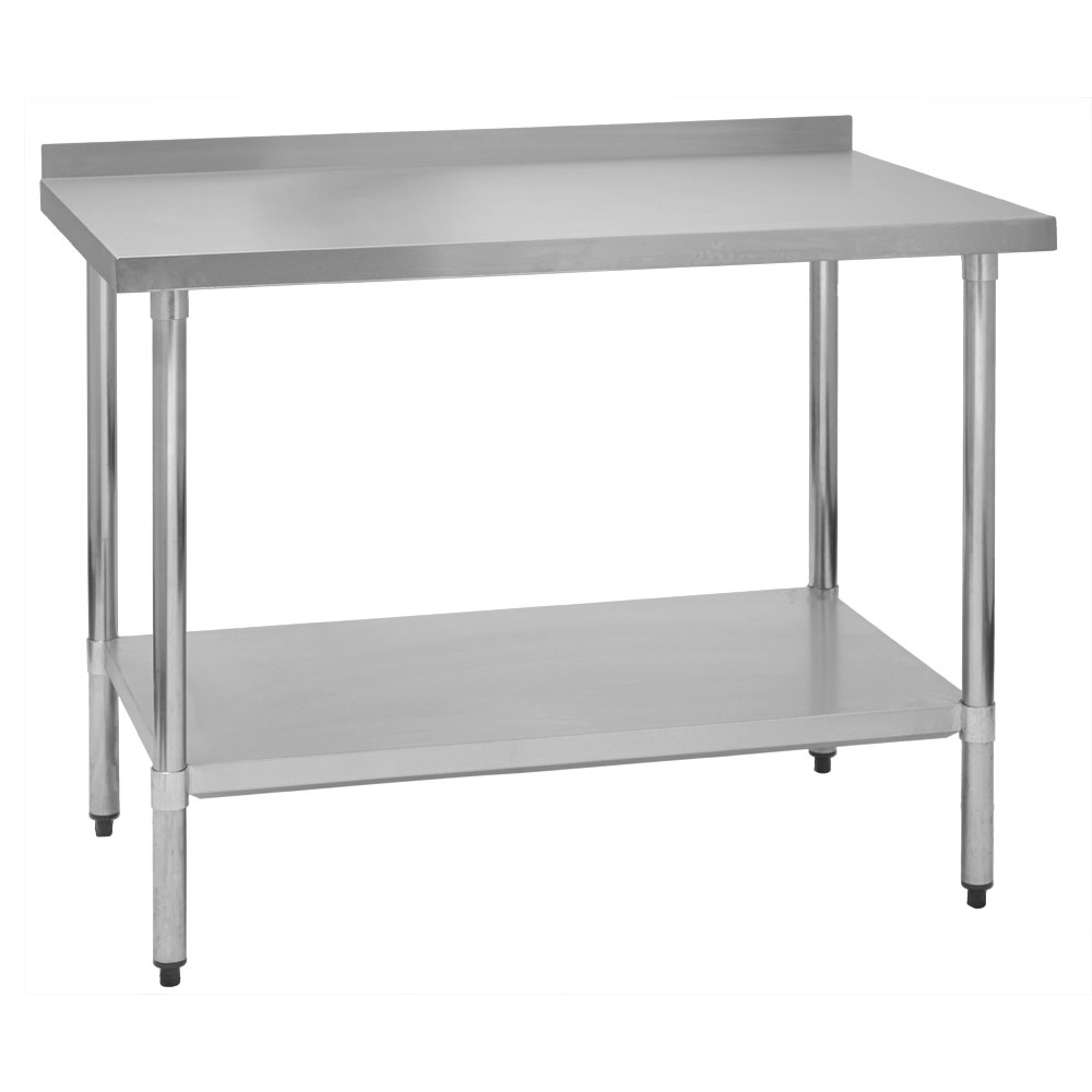 Fenix Sol Stainless Steel Commercial Kitchen Work Prep Table, 30''W x 72''L x 36''H, 2'' Backsplash