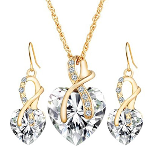 Price comparison product image Perman Womens Jewelry Set, Fashion Crystal Heart Necklace and 1 Pair Earrings for Wedding, cheap stuff (White)
