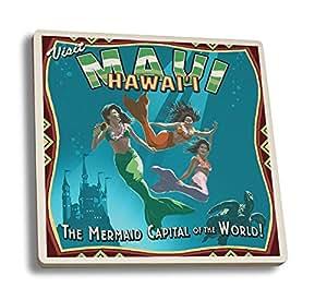 Mermaid Vintage Sign - Maui, Hawaii (Set of 4 Ceramic Coasters - Cork-backed, Absorbent)