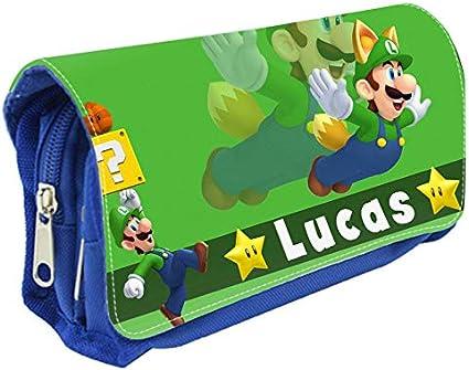 Estuche para lápices personalizable, diseño de Luigi, color azul: Amazon.es: Oficina y papelería