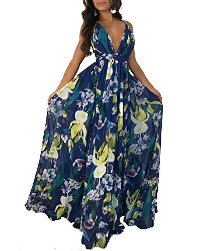 Women's Floral Long Maxi Dresses - V Neck Backless Strap Boho Summer Beach Party Dresses Dark Blue