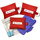 CPR Mask Keychain with Nitrile Gloves (Pack of 3), MCR Medical