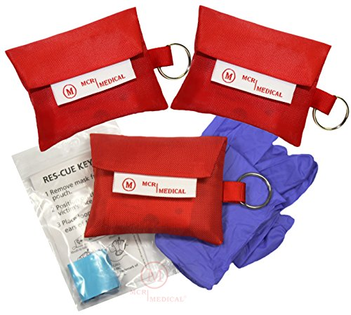 - CPR Mask Keychain with Nitrile Gloves (Pack of 3), MCR Medical