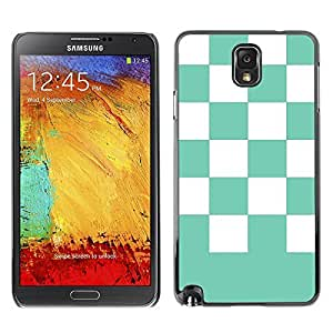 Graphic4You Checkered Pattern Design Hard Case Cover for Samsung Galaxy Note 3 (Tiffany Blue)