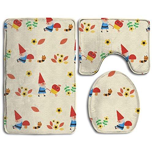 Gnome Super Plush Bathroom Rugs Set Dries Quickly Mildew Bath Shower Mat U-shaped Lid Toilet Floor 3 (Gnome Mat)
