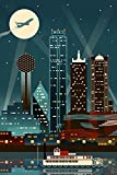 Dallas, Texas - Retro Skyline (no text) (24x36 Giclee Gallery Print, Wall Decor Travel Poster)