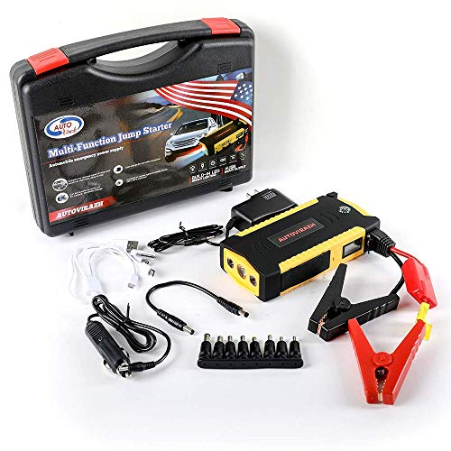 AutoVirazh Portable Car Battery Jump Starter Battery Pack 600A 16500mAh (up to 6.5L Gas, 5.2L Diesel Engine), Jumper Cables And Auto Charger Battery Booster Power Pack w/USB Smart Charging Port.
