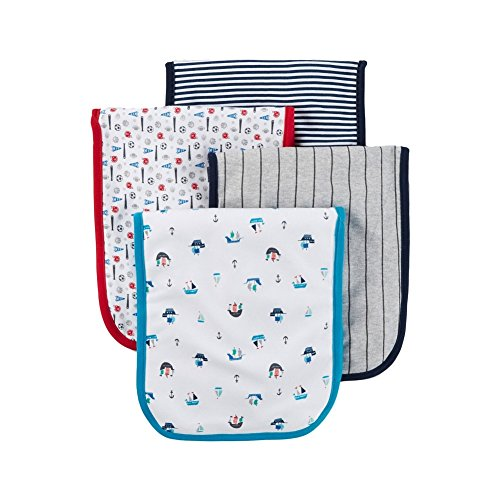 Carter's Just One You Baby Boys' 4 Pack Burp Cloth Set - Sailboats Blue Beam