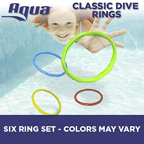 Aqua Classic Dive Rings, 6 Pack Diving Toys, Swimming Pool Toys Kids, Dive & Retrieve, EZ Grab Large Diameter - Rubber Ring Toy