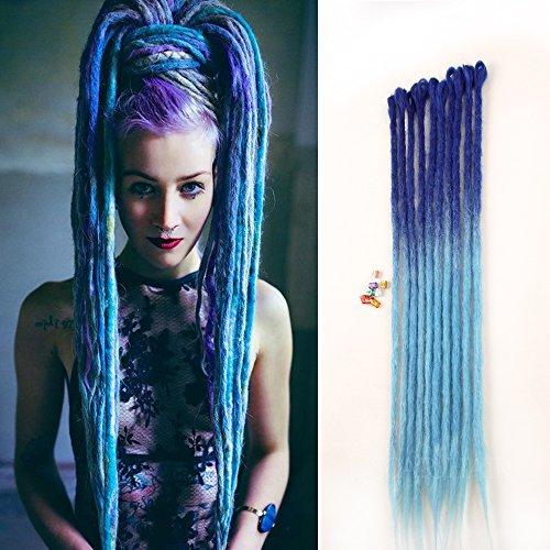 DSOAR 24 inch Ombre Blue Dreadlocks Extensions Handmade Synthetic Dreadlocks Crochet Reggae Dreadlock 10 Strands/Pack]()