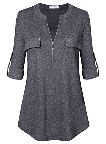 Bulotus Women's V Neck 3/4 Sleeve Solid Pullover Casual Top for Ladies,Grey,X-Large