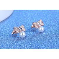 Jaywine2 925 Sterling Silver Women Jewelry Pearl Bow Crystal Elegant Ear Stud Earrings