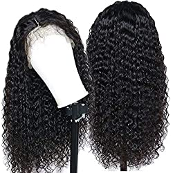 Eayon Hair Curly Lace Front Human Hair Wigs-Glueless 130% Density Brazilian Virgin Remy Wigs with Baby Hair for Women Natural Color 20Inch