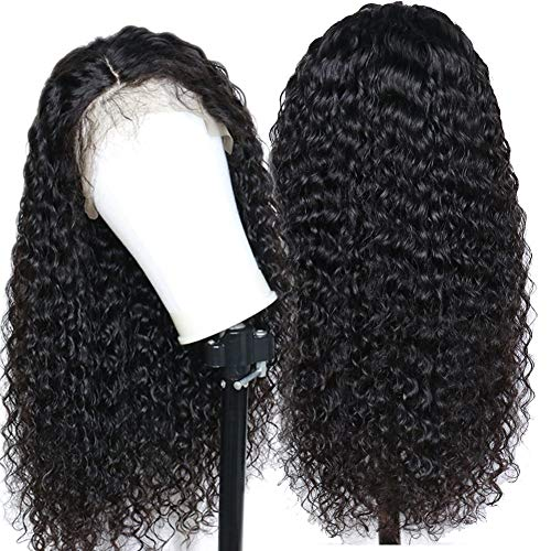 Eayon Hair Curly Lace Front Human Hair Wigs-Glueless 130% Density Brazilian Virgin Remy Wigs with Baby Hair for Women 12 inch Natural Color