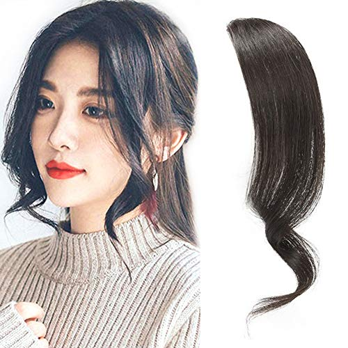 Dsoar 2PCS Wave Side Bangs Real Human Hair Clip In Bangs Wave Fringe Hair Extensions(Natural Black Color) (Black Hairstyles For Long Hair With Side Bangs)