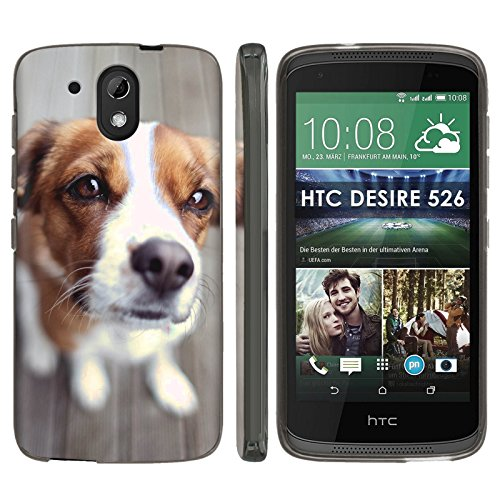 [Mobiflare] HTC Desire 526 TPU Silicone Phone Case [Black] Ultraflex Thin Gel Phone Cover - [Puppy Eyes] for HTC Desire 526 [4.7