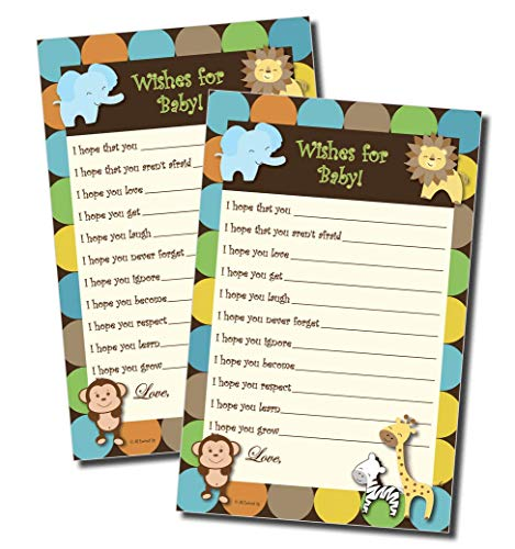 Wishes for Baby - Baby Shower Game - Jungle Themed (50-sheets) -