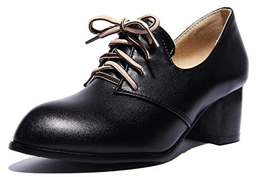 IDIFU Womens Classic Lace Up Mid Chunky Heels Pointed Toe Low Top Office Pumps Shoes Black