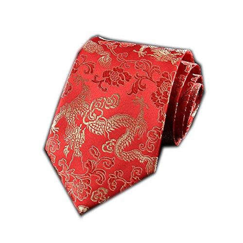Men's Chinese Dragon Silk Tie Best Necktie Neckwear Red Gold Dragon ()