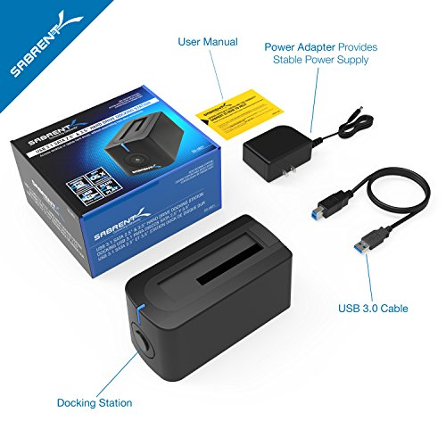 Sabrent USB 3.0 to SATA External Hard Drive Docking Station for 2.5 or 3.5in HDD, SSD [Support UASP] (DS-UBLK)