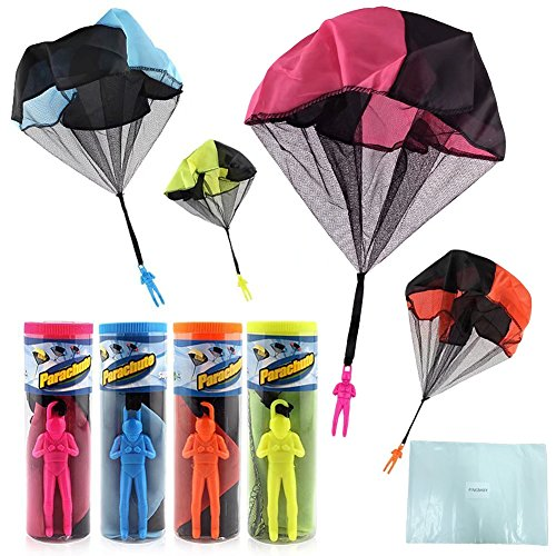 HENGBANG 4PCS Set Tangle Parachute Figures Hand Throw Soliders Square Outdoor Children's Flying Toys | No Strin -
