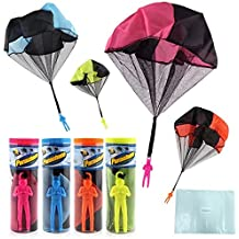 Finebaby 4PCS Set Tangle Free Parachute Figures Hand Throw Soliders Square Outdoor Children's Flying Toys | No Strin