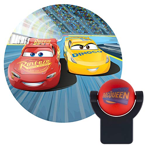Projectables 11742 Cars LED Plug-In Night Light, Red and Black, Light Sensing, Auto On/Off, Projects Disney Pixar Characters Lightning McQueen, and Dinoco Cruz Ramirez Image on Ceiling, Wall, or Floor