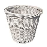 Large White Wicker Waste Paper Basket