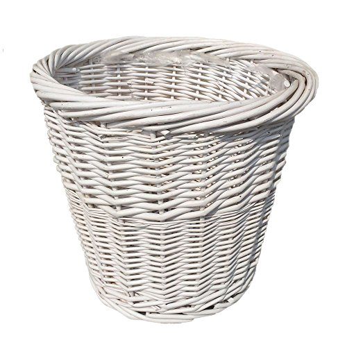 Large White Wicker Waste Paper Basket by Red Hamper