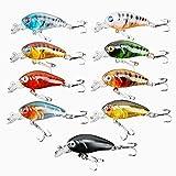 Dophee 9Pcs Plastic Fishing Tackle Lure 4.5cm/4g Bass CrankBait Crank Bait Hooks