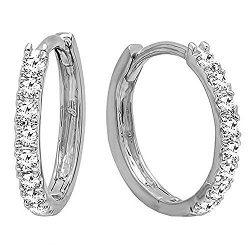 Dazzlingrock Collection 0.20 Carat (ctw) 18K Round Cut White Diamond Ladies Huggies Hoop Earrings 1/5 CT, White Gold