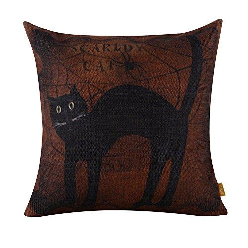LINKWELL 45x45cm Halloween All Hallows' Eve Black Cat Burlap Cushion Covers Pillow (Halloween Pumpkin Cat Carving)