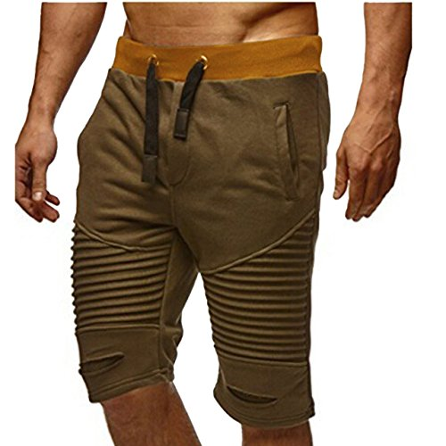 Men's Joggers Half Shorts Sweatpants Muscle Type (L, Khaki) Athletics Stadium Casual Waist Fashion Messenger Off time Room wear Streetwear Training Pro ()