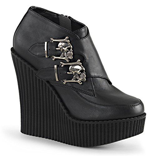Womens Black Platform Wedges Monk Strap Shoes Creepers Vegan Leather Skulls Boot Size: 10