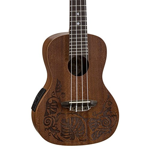 Luna Mo'o Mahogany Acoustic/Electric Concert Ukulele with Lizard Graphic & Gig Bag, Satin Natural