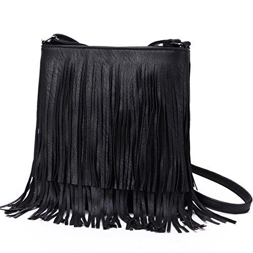 Hozee Pequeñas bolsas de hombro bolso de cuerpo cruzado bolsos negro mujer Bolso cruzados para mujer laterales con borla Negro