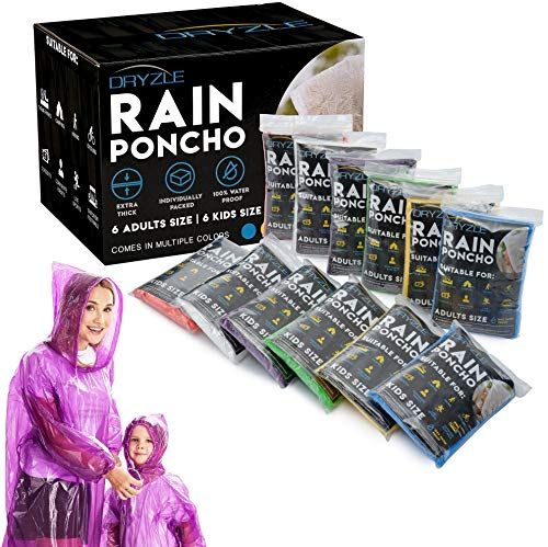 (Dryzle Rain Ponchos for Kids and Adults - 12 Raincoat Poncho for Children, Women and Men with Drawstring Hood, Lightweight Disposable Emergency Rain)