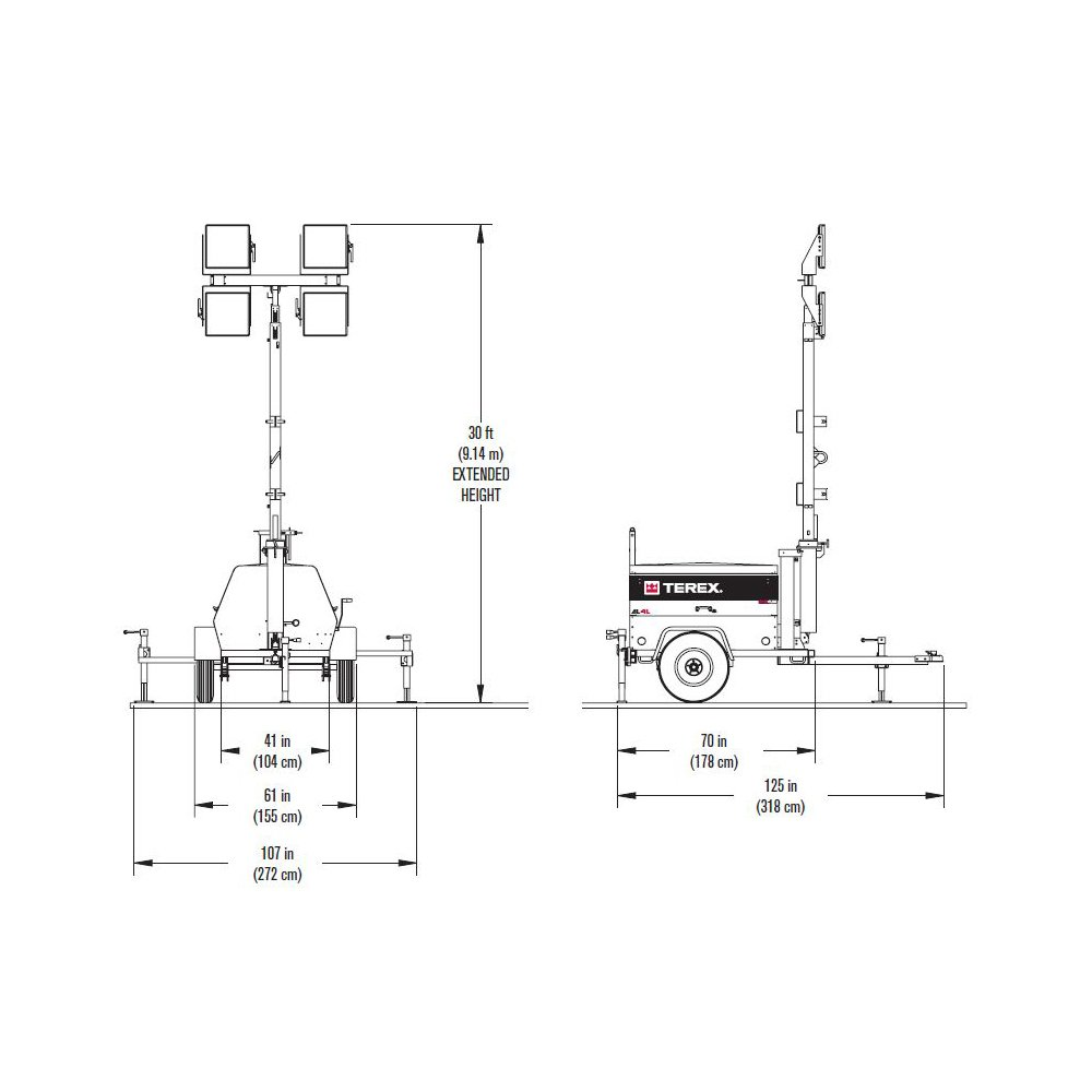 Terex Al4l Fuel Saving Portable Led Light Tower 6kw Generator Ignition Switch Wiring Diagram Powered 1080 Watts Of Industrial Towers Scientific