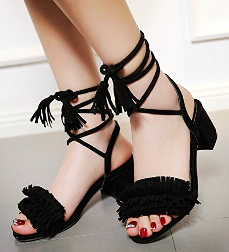 Aisun Womens Trendy Fringed Tassels Open Toe Ankle Wrap Self Tie Lace Up Dress Chunky Mid Heel Sandals Shoes Black dDsMCJz4K