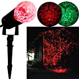 PeeNoke Joiedomi Rotating Outdoor LED Spotlight Light Show Red and Green for Winter Holiday Christmas Decorations Kaleidoscope Projection Light