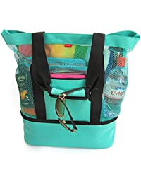 Aruba Mesh Beach Tote Bag with Zipper Top and Insulated Picnic Cooler, Turquoise