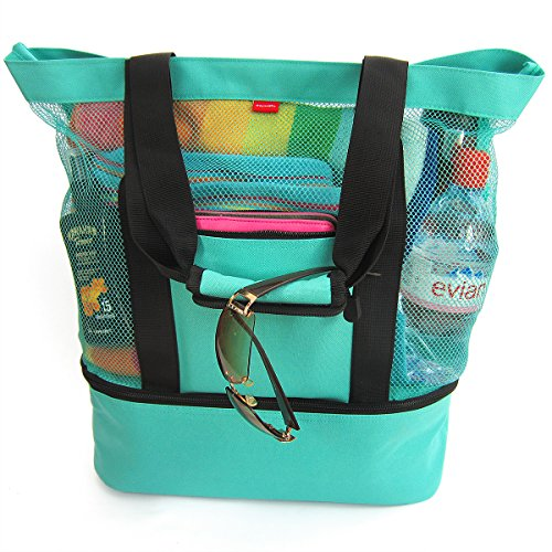 (Odyseaco Aruba Mesh Beach Tote Bag with Zipper Top and Insulated Picnic Cooler, Turquoise)