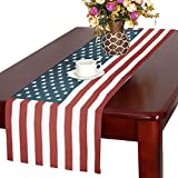 Vintage Kitchen Table InterestPrint Memorial Day 4th of July Cotton Table Runner Placemat 16 x 72 Inch, Vintage American Flag Table Linen Cloth for Office Kitchen Dining Wedding Party Home Decor