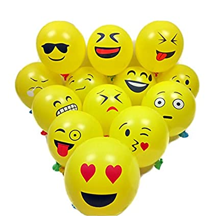 Amazon 12 Emoji Smiley Face Expression Yellow Latex Balloons 50 CountWedding Birthday Party Decor Children Kids Gift Toys Games