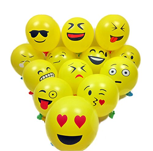 12 Emoji Smiley Face Expression Yellow Latex Balloons-50 Count,Wedding/Birthday Party Decor Children Kids Gift
